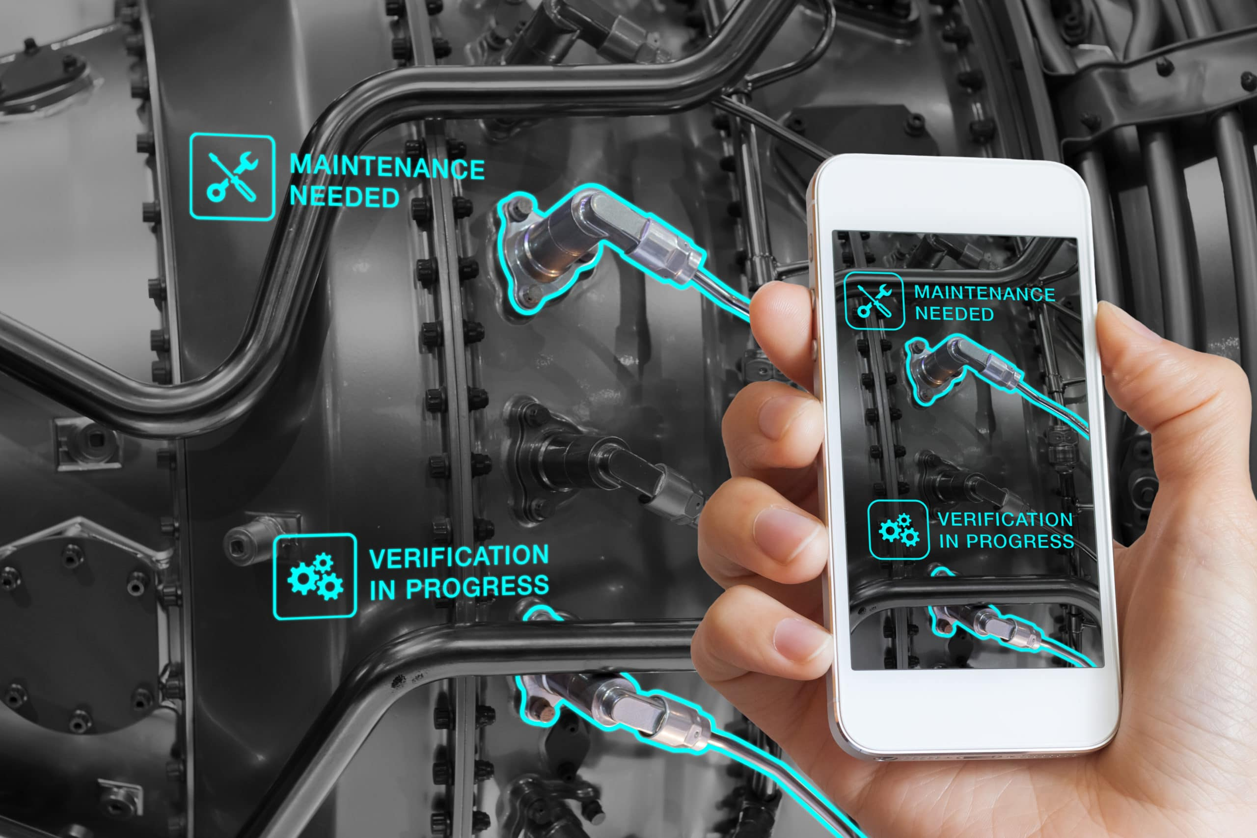 Augmented Reality technology maintenance, technician using smartphone, AR interface, monitoring
